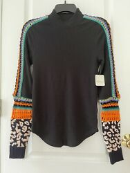 NWT FREE PEOPLE SWITCH IT UP CUFF THERMAL SHIRT Top In Black Size M Msrp$ 78