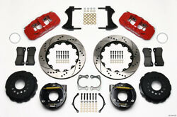 Wilwood Aero4 Rear P-brake Kit 14.00in Drilled Red For Chevy 12 Bolt W/ C-clips