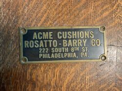 Antique Billiard Table Name Plate Rosatto Barry Street Phila Pa Brass Sign 2