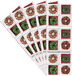 Holiday Wreaths 5 Books Of 20 Forever Us First Class Postage Stamps Christmas Tr