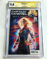 Cgc 9.8 Ss Captain Marvel 3 Movie Photo Variant Signed By Brie Larson Avengers