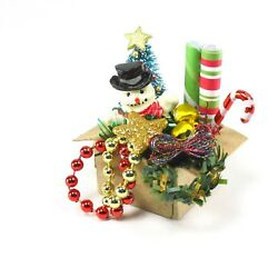 WMH Dollhouse Miniature Christmas Holiday Box of Decorations Red and Gold