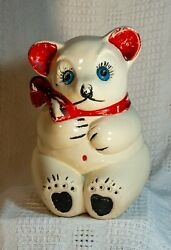 Vintage American Bisque Bear With Red Bow Cookie Jar. - Great Vintage Condition