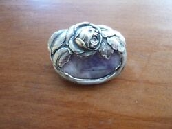 Antique Art Nouveau 800 Silver Pin Brooch Rose Flower And Purple Stone N And M