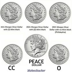 2021 6-coin Set Morgan And Peace Silver Dollars- Morganand039s Cc O P D S + Peace