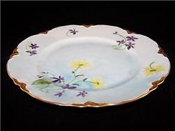 Hutschenreuther Hand Painted Signed Yellow Purple Floral Collector Plate 9 7/8