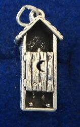 Sterling Silver 3d 24x10x6mm Old West Man In Outhouse With Moon Charm
