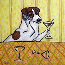 JACK RUSSELL terrier at the martini bar with cell phone dog art tile coaster