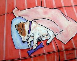 BABY JACK RUSSELL ASLEEP ON COUCH 8x10 dog art print dog gifts