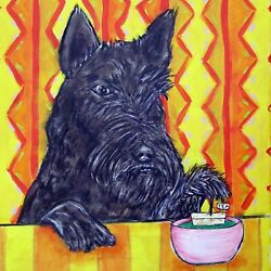 scottish terrier steeping tea coaster dog art tile pet