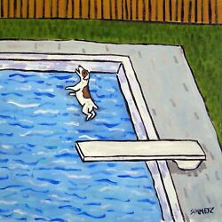 jack russell terrier diving at the pool dog art tile coaster gift