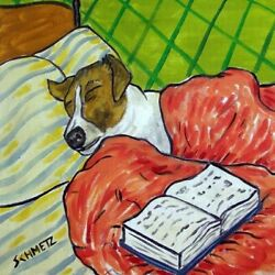 JAck Russell Terrier sleeping dog art tile coaster bedtime book gifts artwork