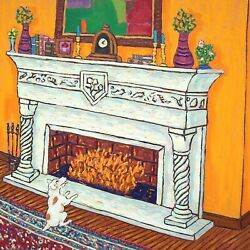 jack Russell by the fireplace dog art tile dog gift