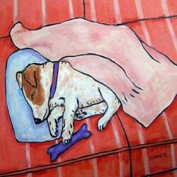 JACK RUSSELL terrier SLEEPING ON COUCH dog art tile