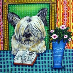 SKYE TERRIER reading a book dog art tile coaster