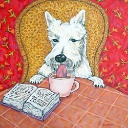 scottish terrier coffee dog gift art tile coaster