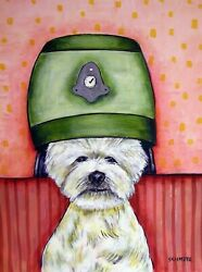 WEST HIGHLAND WHITE TERRIER SALON dog art print 8x10