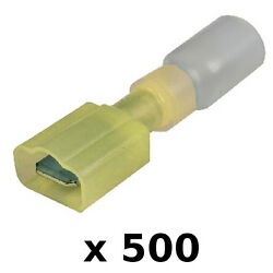 500 Pack Yellow 12-10 Awg Heat Shrink 0.25 Inch Male Spade Terminals For Boats