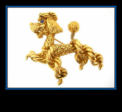 22K Yellow Gold Standard Poodle Dog Puppy Pin Brooch 3D