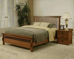 Usa Made Mission Queen Spindle Bed 100 Solid Rift And Quarter Sawn Oak Furniture