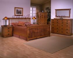 100 Solid Rift And Quarter Sawn Oak Mission Queen Bed American Made Furniture
