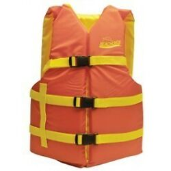 Orange And Yellow Colored General Adult Xl Sized Type Iii Pfd Life Vest For Boat