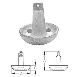 15 Lb Aluminum Painted Cast Iron Mushroom Anchor For Boats Up To 16 Feet