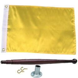 12 X 18 Solid Yellow Port Clearance Flag Kit For Boats - Flag Pole And Holder