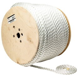 1/4 Inch X 600 Ft Three Strand Twisted Nylon Rope Spool For Boats