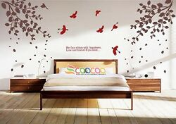 Wall Decor Decal Sticker vinyl tree branches leaves birds LARGE size DC315LG