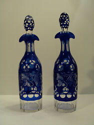 Gorgeous Matched Pair Of Vintage Cobalt Overlay Cut-to-clear Decanters