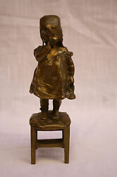 Magnificent 1900 French Bronze Statue Of A Funny Girl By Juan Clara
