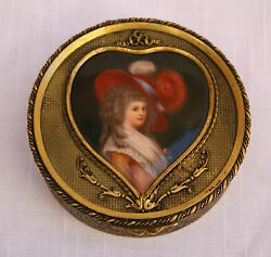 Magnificent 19c French Dore Bronze Hand Painted On Porcelain Box