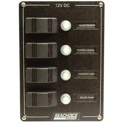 4 Gang Rocker Switch Panel With Circuit Breakers For Boats - Aluminum Panel