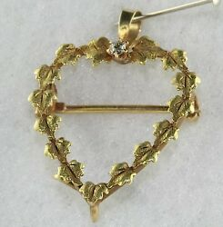 Victorian Antique 14k Gold Diamond Leaf Heart Chatelaine Watch Pin