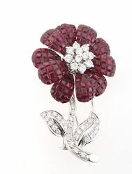 Well Made Estate 18K White Gold 1.25ctw Diamond 8.5ctw Ruby Flower Brooch Pin