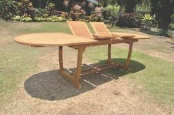 Grade-a Teak Wood Mas 117 Double Extension Oval Dining Table Outdoor Patio New