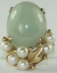 Vintage Ming's 14k Gold Large Jade And Pearl Ring Size 4.75 - Free Resize