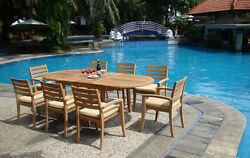 Trav 9-pc Outdoor Teak Dining 94 Oval Extension Table, 8 Stacking Arm Chairs