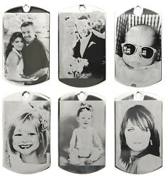 CUSTOM MADE PERSONALIZED BLACK amp; WHITE PHOTO ETCHING DOG TAG PICTURE PENDANT $12.95
