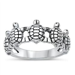 .925 Sterling Silver Women#x27;s Cute Sea Turtles Band Ring Size 4 12 NEW $13.25