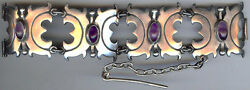 Vintage 1940and039s Weighty Mexican Sterling Silver And Amethyst Bracelet