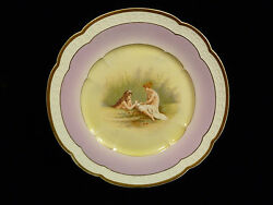 Rosenthal Decorative Scenic Porcelain Plate And039along The River Bankand039 - Circa 1895