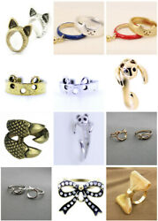 Fish Cat Claw Bow Ring / Rings Different Designs And Colours