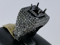 New 10K Mens Black Gold Round Diamond Semi Mount Fahsion Pinky Band Ring 4.83 Ct