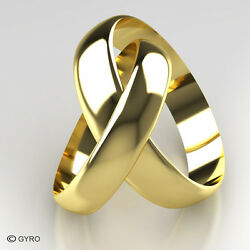 Premium Quality His And Hers 9ct Yellow Gold Wedding Rings 4mm And 5mm Width