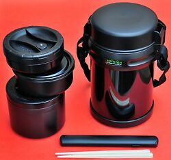Large Big Bento Lunch Box With 3 Containers Thermos Keep Warm Or Cold 1800ml