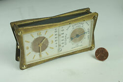 Le Coultre 1960and039s Weather Station Desk Alarm Clock Watch Barometer Thermometer