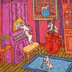 JAck Russell jazz trio dog art tile coaster gift artwork music room