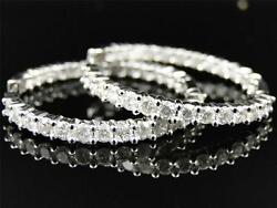 14k Womens Ladies White Gold Rounnd Diamond In And Out Hoops Earrings 3.75 Ct